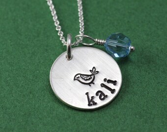 Personalized Name and Birthstone Necklace; Hand Stamped Sterling Silver Necklace