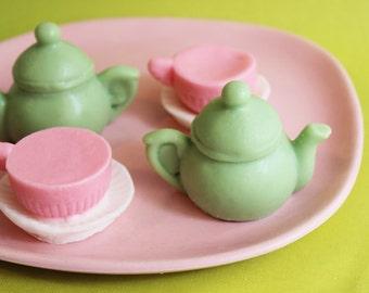 Tea Party Soap Green Apple Set - Teapot Soap, Teacup Soap, Alice In Wonderland Soap, Teen Gift, Soap Favors, Green Apple Soap, Soap Favors