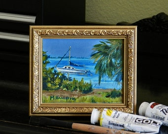 Tropical Miniature Painting, Private Cove, Sailboat Original Art, Small Format Art, Acrylic Wall Art, Framed, Vacation Art