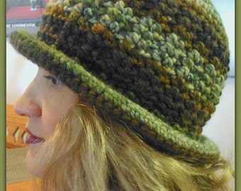 Instant Etsy Download PATTERN - Roll Brim Cloche Bucket Hat Crochet Pattern-Awesome Texture-Two Broke Girls Inspired