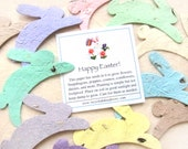 15 Plantable Seed Paper Easter Bunny Rabbits - Peter Rabbit Baby Shower - First Birthday Easter Party Favors - Plantable Bunnies