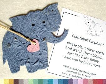 25 Plantable Elephant Baby Shower Favors - Flower Seed Paper Elephants - Baby Shower Favors - Elephant Seed Paper Favors