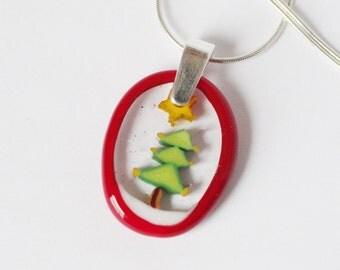 Christmas Tree Murrini murrine millefiory NECKLACE