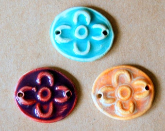 3 Handmade Ceramic Beads - Sweet Set of Bracelet Beads - Folk Art Flower Beads