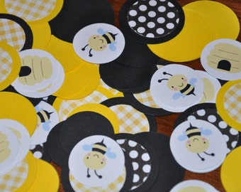 Bee Confetti. Bee Party. Bumble Bee Confetti. Minis. Dots. Handmade Confetti. 125 pieces. black. yellow. polka dots. bee. hive.