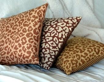 Cheetah Square Modern Scatter Throw Pillow / modern bedding / neutral pillow / brown cheetah pillow / animal print pillow / mix and match