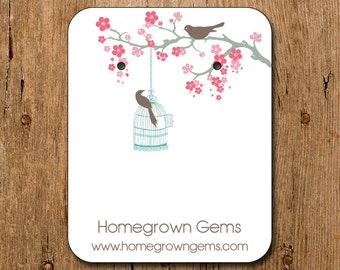 Personalized Earring Cards Modern Cherry Blossom Bird Tree 00093a