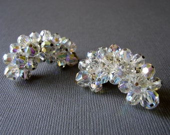Vintage Crystal Earrings Clip Back Climber 1960s Laguna Jewelry Aurora Borealis Wedding Bridal Formal Ballroom Pageant Holiday Accessories