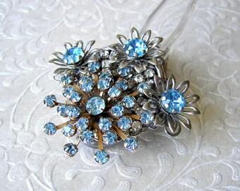 Aquamarine Jeweled Wedding Hair Fork Aqua Rhinestone Flower Comb Bohemian Beach Bride Hairpiece Vintage Jewelry Headpiece Boho Chic Bride