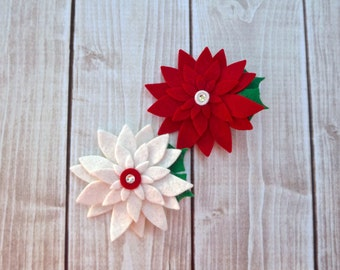 Poinsettia Felt Flower Clippie- Christmas Felt Clippie- Baby Hair Clippie