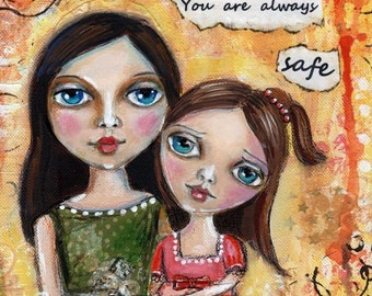Mother and Child, Original Mixed media painting, Children's Nursery art ,mother, big eyed art