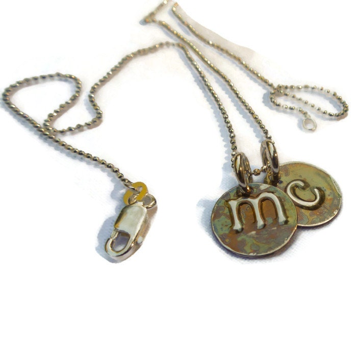 2 organic discs initials necklace initial charms by frills4you