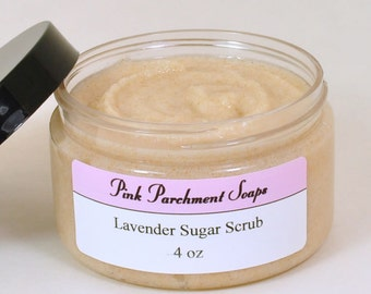 Lavender Sugar Scrub - Emulsified Sugar Scrub - All Natural Sugar Scrub made with Lavender Essential Oil