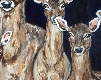Deer in Headlights Painting Portrait Acrylic Wall Art