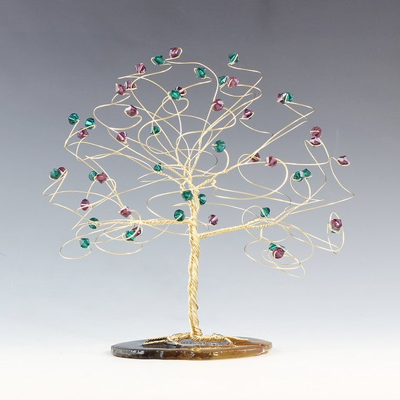 """CUSTOM - Tree Cake Topper 6"""" x 6"""" in Swarovski Crystal Elements Made in Your Choice Silver Gold Copper and Crystal Colors"""