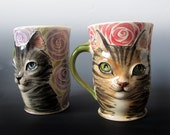 Ceramic Cat mug Made to Order - sculpted high relief cat in your choice of markings