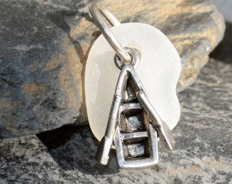 ROW YOUR BOAT - Row Boat Sea Glass Pendant