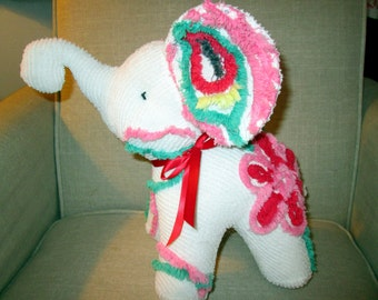 Elephant stuffed animal made from Vintage Chenille bedspread