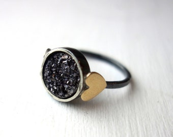 Black Drusy Sweetheart Ring- Midnight Black Drusy with Brass Hearts