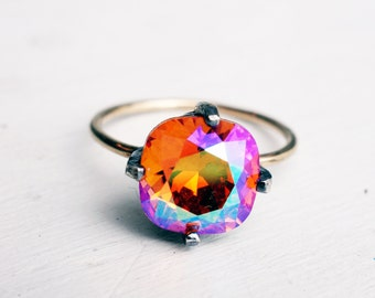 Handmade Sunrise Crystal Ring in Sterling Silver and 14k Gold Fill