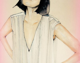 FaceHunter series 13 - Fashion Illustration Art Print, Woman, Mix Media Painting by Leigh Viner  // Limited Edition