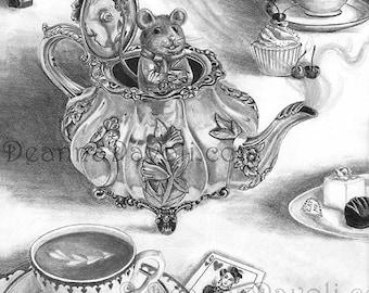 Dormouse Art Print Alice in Wonderland Art Gothic Art Fairy Tale Art Victorian Art 11x14