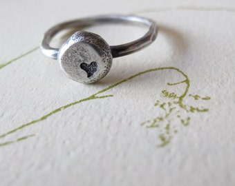 Love Nugget  Ring - sterling silver ring - eco promise ring