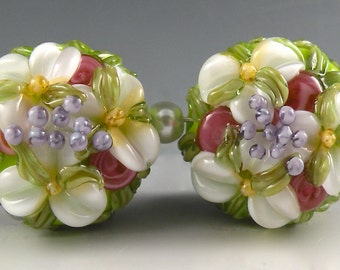 REMADE 4 YOU! Light Bright Green and White Floral Lentils-Handmade Floral Lampwork Beads