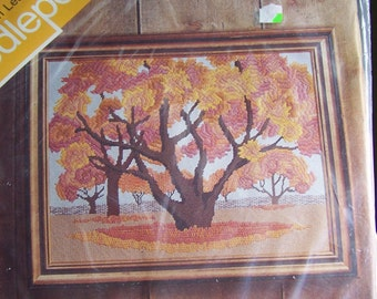Vintage Needlepoint Kit, Spinnerin Needlepoint, NP186, Autumn Leaves, Spinnerin Yarn Company, New In Bag, Etsy, Etsy Supplies