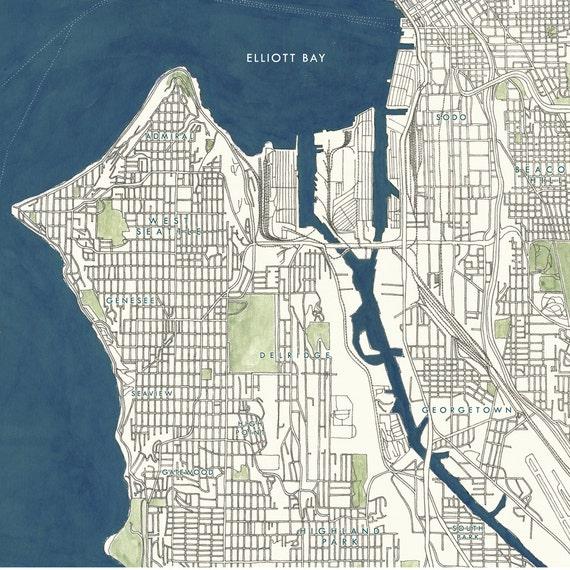 SEATTLE Map Street Map WASHINGTON City Map Drawing Art Print