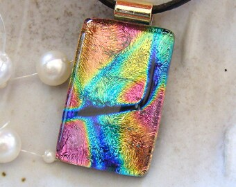 Dichroic Pendant, Glass Jewelry, Fused Jewelry, Necklace Included