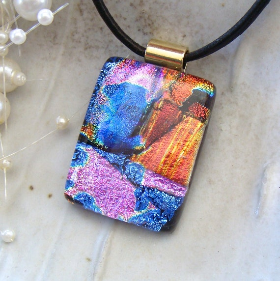 Dichroic Fused Glass Pendant, Red, Blue, Pink, Gold, Black, Necklace Included, One of a Kind, A2