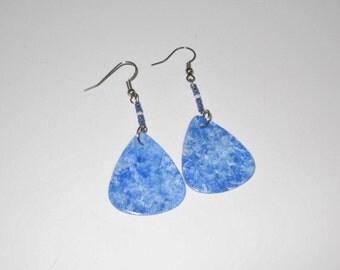 Hand-Painted Blue Stone Earrings on Guitar Picks