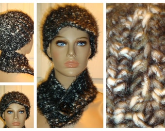 Black and White blend Cap / Hat and Neckwarmer / Cowl Set