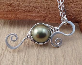 New Mom Pea Pod Necklace - Peas in a Pod Necklace - New Mommy Necklace - New Mom Jewelry - One Pea in a pod Necklace
