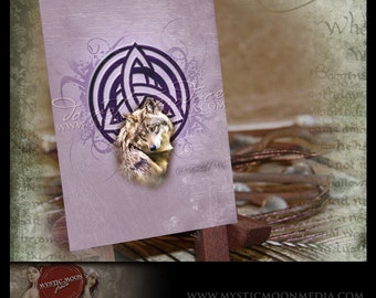LIMITED...Wolf... ACEO / ATC.. Fantasy Picture...triquetra..Wolf with Celtic Knot