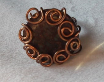 Copper and Ocean Jasper Ring size 4