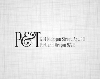 Ampersand with Initials Address Stamp, Wedding Return Address Stamp, Custom Address Stamp, Self Inking Stamp, Rubber Stamper
