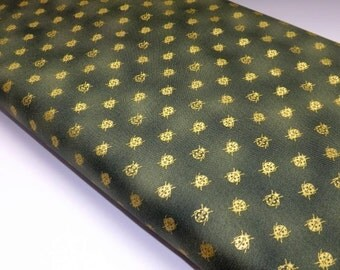 Garden Etchings Green Ladybugs Metallic Bugs Quilting Sewing Fabrics OOP