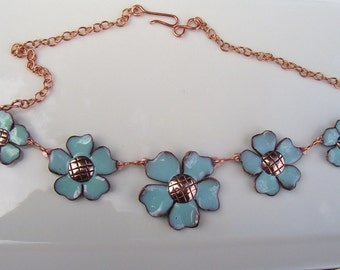 Chain of Blue Enamel Flowers - Necklace