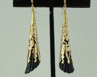 gold filigree cone black flower dangle earrings