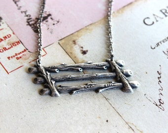 the fence. corral fence necklace. silver ox jewelry