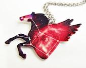 Pegasus Star Constellation Red Gradient Necklace