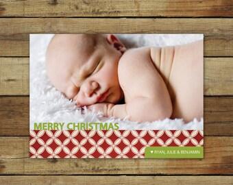 Merry Christmas card, photo holiday card, custom