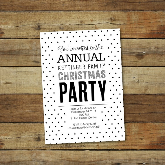 white and black polka dot invite