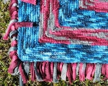 Soft, oh so cushy soft!!! - Handmade locker hook rug - ON SALE