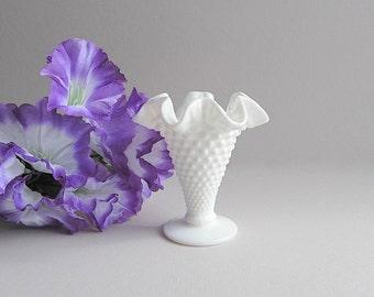 Vintage Hobnail Vase Milk Glass Vase Small Flower Vase Fenton
