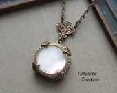1/2 Price Sale Snow Moon, Antique Mother of Pearl Button Necklace