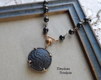 Victorian Antique Glass Button Necklace- Zebra