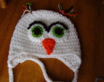 Accessory White Crochet Owl Earflap Hat 6-12 month